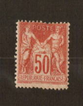 FRANCE 1898 Definitive 50c Carmine-Rose on tinted paper. - 74535 - Mint