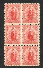 NEW ZEALAND 1901 1d Universal. Block of 6. Unhinged but the gum is disturbed. - 74602 - UHM