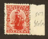 NEW ZEALAND 1925 1d Dominion on De La Rue Medium Chalky Paper with Sideways Watermark and Brown Gum. Globe Flaw. - 74672 - Mint