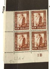 NEW ZEALAND 1935 Pictorial 1½d Brown.  Watermark W7. Perf 14 x 13.5. Plate Block 1B. - 74757 - MNG