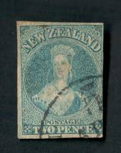 NEW ZEALAND 1855 Imperf Full Face Queen 2d Blue. Four good margins. Fine corner cancel. - 74810 - FU