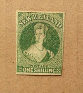 NEW ZEALAND 1855 Full Face Queen 1/- Green. Imperf. 4 large margins except touching at lower right. Very light cancel. - 75056 -