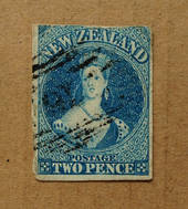 NEW ZEALAND 1855 Full Face Queen 2d Blue on white paper with no watermark. Three margins. Frame line sketchy at top. Three exper