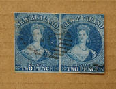 NEW ZEALAND 1855 Full Face Queen 2d Blue on blue. Imperf. Pair (one with full margins. Light cancel off face. Excellent item. -