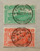 NEW ZEALAND 1906 Christchurch Exhibition ½d and 1d both with fine Exhibition cancels. Excellent display items. - 75068 - VFU