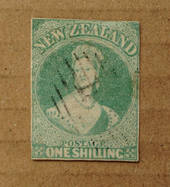 NEW ZEALAND 1855 Full Face Queen 1/- Dull Emerald-Green. White paper. No watermark. Three clear margins, cut along and slightly
