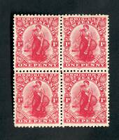 NEW ZEALAND 1909 1d Dominion. Block of 4. - 75111 - UHM