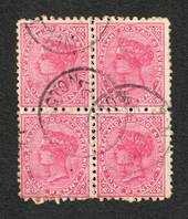 NEW ZEALAND 1882 Victoria 1st Second Sideface 1d Red. Block of 4. - 75162 - VFU