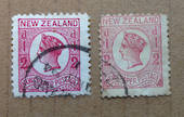 NEW ZEALAND 1873 Victoria 1st Newspaper Definitive ½d Rose . Two distinct varieties. - 75176 - Used