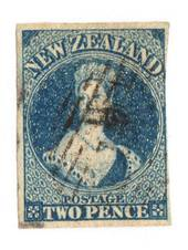 NEW ZEALAND 1855 Full Face Queen 2d Deep Blue. Watermark Large Star. Three clear margins. Frame line touched on the right. - 751