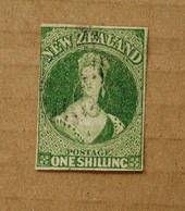 NEW ZEALAND 1855 Full Face Queen 1/- Deep Green. Watermark Large Star. Three margins, judt touching top right. Good cancel off f