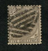 NEW ZEALAND 1874 Victoria 1st First Sideface 5/- Grey. Heavy but tidy postmark. - 75271 - Used