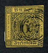 BADEN 1853 Definitive 6k on Orange. Three good margins. Cut straight down the line of the fourth. - 75448 - Used