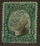 USA 1871 Proprietary 6c Green and Black on green paper. - 76105 - Used