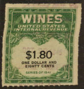 USA 1941 Internal Revenue Wines $1.80 Green and Black. - 76108 - Fiscal