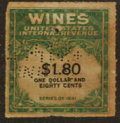 USA 1941 Internal Revenue Wines $1.80 Green and Black. Perfin. - 76109 - Fiscal
