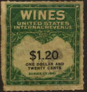 USA 1941 Internal Revenue Wines $1.20 Green and Black. - 76111 - Fiscal