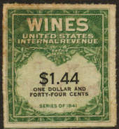 USA 1941 Internal Revenue Wines $1.44 Green and Black. - 76112 - Fiscal