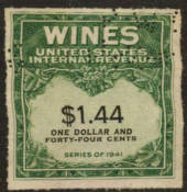 USA 1941 Internal Revenue Wines $1.44 Green and Black. Perfin. - 76113 - Fiscal