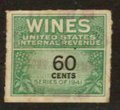 USA 1941 Internal Revenue Wines 60c Green and Black. - 76114 - Fiscal