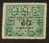 USA 1941 Internal Revenue Wines 60c Green and Black. Perfin. - 76115 - Fiscal