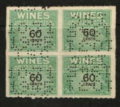 USA 1941 Internal Revenue Wines 60c Green and Black. Perfin. Block of 4. - 76118 - Fiscal