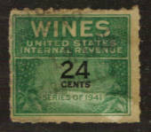 USA 1941 Internal Revenue Wines .24c Green and Black. - 76119 - Fiscal