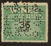 USA 1941 Internal Revenue Wines .36c Green and Black. Perfin. - 76121 - Fiscal