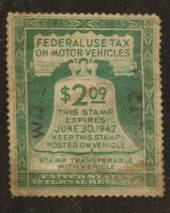 USA 1941 Federal Use Tax on Motor Vehicles $2.09 Green - 76122 - Fiscal