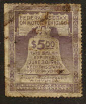 USA 1944 Federal Use Tax on Motor Vehicles $5.00 Purple. - 76124 - Fiscal