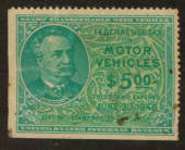 USA 1945 Federal Use Tax on Motor Vehicles $5.00 Green. - 76125 - Fiscal