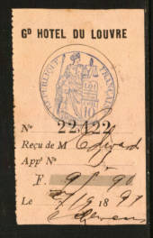 FRANCE 1897 Receipt from Le Gd Hotel Du Louvre. - 76139 - Fiscal