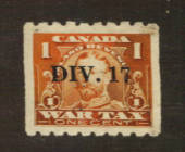 CANADA 1915 War Tax 1 cent Orange overprinted DIV 17. - 76174 - Fiscal