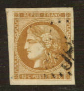 FRANCE 1849 Definitive 10c Brownish Bistre. Superb copy. Huge margins. From the collection of A L Jenkin. - 76201 - VFU