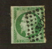 FRANCE 1853 Definitive 5c Deep Green on bluish. Excellent margins. Small numeral cancel 3472 Valenciennes nicely placed. From th