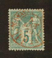 FRANCE 1876 Definitive 4c Bluish Green. Type 1. Letter 'N' under the 'B'. From the collection of A L Jenkin. - 76219 - VFU