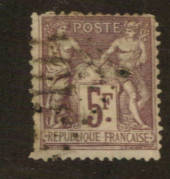 FRANCE 1877 Definitive 5fr Lilac on pale lilac. Type 2. Letter 'N' under the 'U'. - 76224 - Used