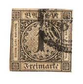 BADEN 1851 Definitive 1kr Black on buff. Mostly four margins but touching at the bottom where there is a slight thin. Outer fram