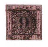 BADEN 1851 Definitive 9kr Black on dull rose. Lower frame touching. From the collection of H Pies-Lintz. - 76963 - Used