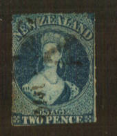 NEW ZEALAND 1855 Full Face Queen 2d Deep Blue. Roulette 7 at Auckland. A very nice copy with the roulettes on three 'sides'. - 7
