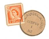 NEW ZEALAND Postmark Hamilton CLAUDLANDS 22/9/59 Relief cancel on piece. - 79098 - Postmark