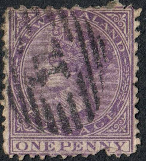 NEW ZEALAND 1874 Victoria 1st Definitive First Sideface 1d Violet. Stated to be Perf 10x12½x13½x12½. 13½ on the bottom margin. F
