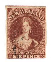 NEW ZEALAND 1855 Full Face Queen 6d Red-Brown. Imperf. Watermark Large Star. Three margins. Slightly cut into at the bottom but