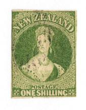 NEW ZEALAND 1855 Full Face Queen 1/- Green. Imperf. Watermark Large Star. Three clear margins. Touching top left but the frame i