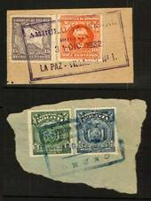 BOLIVIA 1932 Item on piece with nice Railway Travelling Post Office Postmark. Also another similar item. - 80037 - Postmark