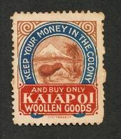 NEW ZEALAND 1906 Buy only Kaiapoi Woollen Goods. Very Lightly Hinged. Otherwise excellent gum. - 80688 - LHM