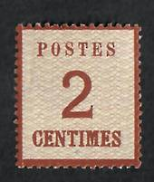 "ALSACE and LORRAINE 1870 Definitive 2c Chestnut. Points of the net downwards.  Official reprint. ""P"" of Postes 2½mm from left ed"