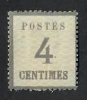 "ALSACE and LORRAINE 1870 Definitive 4c Grey. Points of the net downwards.  Official reprint. ""P"" of Postes 2½mm from left edge."