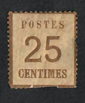 "ALSACE and LORRAINE 1870 Definitive 25c Brown. Points of the net downwards.  Official reprint. ""P"" of Postes Postes 2½mm from le"