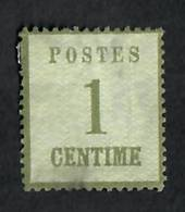 "ALSACE and LORRAINE 1870 Definitive 1c Sage-Green. Points of the net upwards.  Genuine copy. ""P"" of Postes 3mm + from left edge."